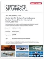 BAE Systems Aircraft Business Units Register of Evaluated Suppliers Certificate